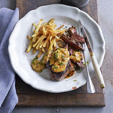 Venison Steaks With Stroganoff Sauce & Shoestring Fries