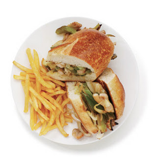 Chicken Philly Cheesesteaks With Fries