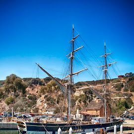 Tall Ship in Dana Point Harbor by Jackie Stoner - Transportation Other ( turquoise water, harbor, docked, dana point, california, tall ship )