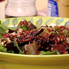 Pear, Toasted Walnut and Mixed Green Salad with Champagne-Cranberry Vinaigrette