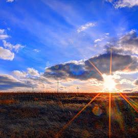 Hilltop Crosses by Derrill Grabenstein - Landscapes Prairies, Meadows & Fields ( field, pasture, sunset, hilltop, sunrise, crosses, landscape )