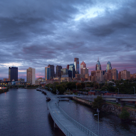 Philadelphia at twilight by Christa Miller - City,  Street & Park  Skylines ( skyline, purple, sunset, liberty one, twilight, south street bridge, philadelphia, south street,  )