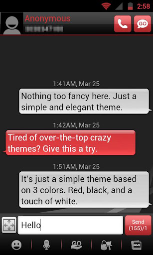 GO SMS THEME - Smooth Red