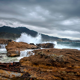 Big Waves Pt Lobos State Park by Patrick Flood - Landscapes Beaches ( canon, stormy, photosbyflood, pt lobos, california, large waves, state park, scenic route, central coast, highway one )