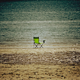 my place  by Uschi Rules - Artistic Objects Still Life ( shore, relax, green, chains, sea, holidays, relaxation, beach, relaxing, coast, holiday, beaches, chair, seas, blue, seat, relaxed, brown, seats, lazy )