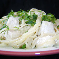 Mock Chicken Fettuccine Alfredo Using Whole Wheat Linguine