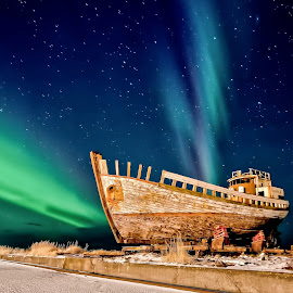 Old boat in Northern Lights, Akranes Iceland. by Gunnar Viðarsson - Transportation Boats