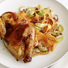 Glazed Hens With Cucumber-Cantaloupe Salad
