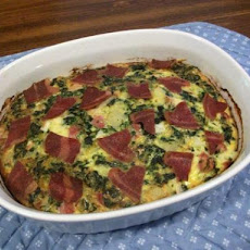 Good Morning Florentine Ham and Eggs Casserole