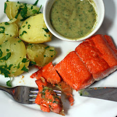 Sautéed Salmon With Potatoes and Creamy Anchovy Sauce