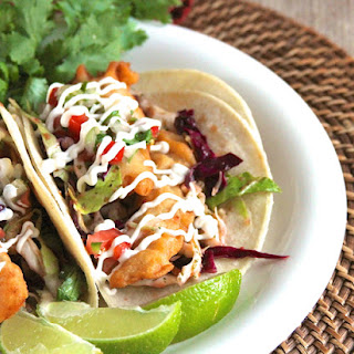Beer Battered Fish Tacos with Chipotle Slaw