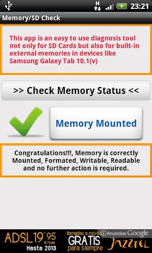 SD Card Memory Check