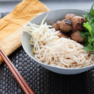 Vietnamese Bun Cha with Rice Noodles & Asian Herb Salad