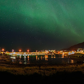 Lodigen Harbor By Night by Rune Nilssen - City,  Street & Park  Skylines ( k3, urora, borealis, aurora, pentax, night, nordland, norway, lodingen )