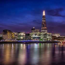 London Nights the Shard and the river  by Colin Dixon - City,  Street & Park  Skylines ( skyline, shard, london, thames, nightscape )