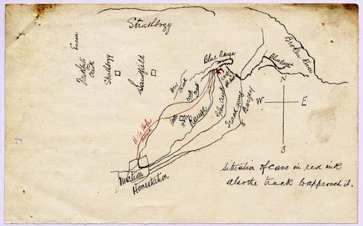 Addressed to Inspector Nicolson of the police department in Melbourne, this letter includes a map of a cave where the Kelly Gang may have hidden. The caves location was described as being between Stringy Bark Creek and Euroa in the Blue ranges.