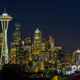 Seattle Via Queen Anne Hill by Bill Kuhn - City,  Street & Park  Skylines ( space needle, skyline, key arena, red, arena, seattle, long exposure, downtown, city )