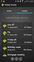 Screenshot of Work Time Off Log