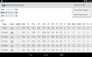 Screenshot of Basketball Stat Tracker