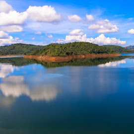 The Blue by Gihan Chamara - Landscapes Mountains & Hills ( clouds, reservoir, mountain, waterscape, tank )