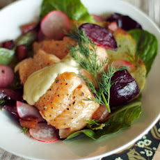 Warm Steelhead and Roasted Beet Salad with Crispy Potatoes