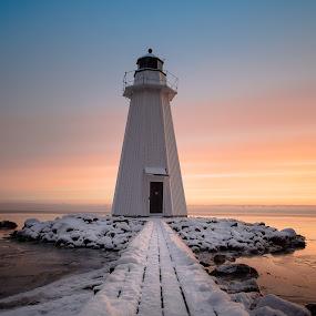 Lighthouse sunrise by Per-Ola Kämpe - Buildings & Architecture Other Exteriors ( winter, ice, snow, lighthouse, sunrise, landscape,  )
