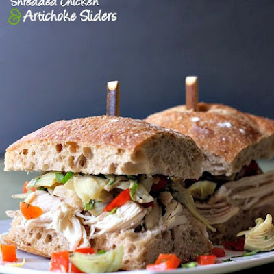 Shredded Chicken and Artichoke Sliders