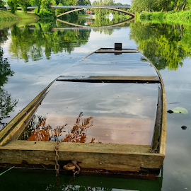 Wooden river boat by Oliver Švob - Instagram & Mobile Android ( sony, sony xperia, instagram, karlovac, croatia, bridge, boat, wooden boat, mobile, river,  )