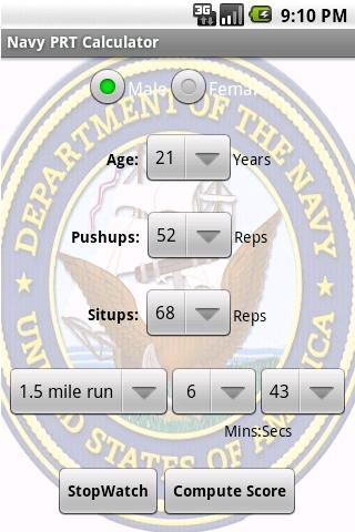 Navy PRT Calculator