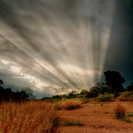 Folded Light by Kent Moody - Landscapes Cloud Formations ( clouds, grass, river bed, storm, light )