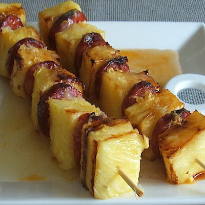 Pineapple And Chorizo Kebabs With Lemon