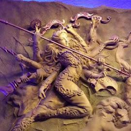 At Jodhpur park sarbojonin. Idol made by paper pulp. by Sourav Bhadra - Abstract Patterns