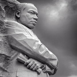 Martin Luther King by Kevin Egan - Buildings & Architecture Statues & Monuments ( statue, b&w, memorial, martin luther king, black and white, monument,  )