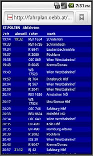 Austrian rail timetable live - screenshot