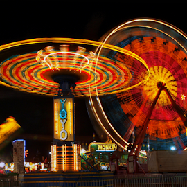County Fair Rides by Joe Saladino - City,  Street & Park  Amusement Parks ( rides, park, amusement, night, fair )
