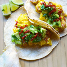 Scrambled Egg and Sausage Tacos with Avocado and Scallion