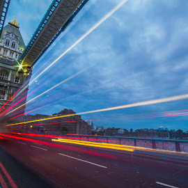 Tower Bridge in Color Rain by Salman Shaikh - Buildings & Architecture Public & Historical ( passing lights, blue sky, tower bridge, night of london, rainbwo, long exposure )