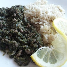 Lina's Awesome Lebanese Spinach, Beef & Rice!