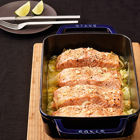 Oven Braised Salmon with Lime and Garlic