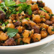 Spicy Sauteed Chickpeas (Garbanzo Beans) Recipe with Beef and Cilantro