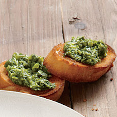 Mint and Pea Pesto on Toasted Baguette