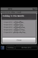 Screenshot of Myanmar Calendar 2012 Lite