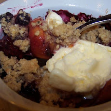 Common Grill Peach, Blueberry and Blackberry Cobbler