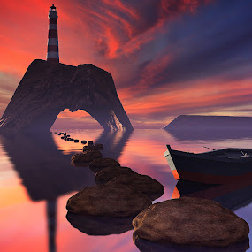 Lighthouse Path [3D] by Jamie Keith - Illustration Sci Fi & Fantasy