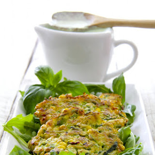 Zucchini - Corn Cakes with Basil - Buttermilk Sauce