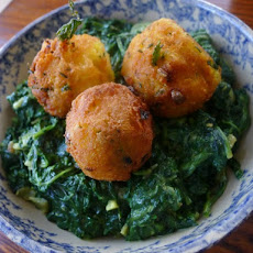 The Occasional Vegetarian's Spinach Saag with Spiced Potato Balls