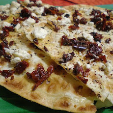 Lavash Pizza With Hummus, Feta and Sun-Dried Tomatoes