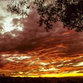 Fire Dusk by Petra Bensted - Landscapes Sunsets & Sunrises ( clouds, sunset, evening )