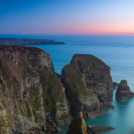 Holyhead by Marek Saj - Landscapes Travel ( water, clear, cliffs, sky, waterscape, sunset, cliff, sundown, long exposure, high, rocks, longexposure )