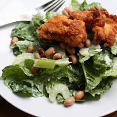 Fried Chicken Salad with Black Eyed Peas & Buttermilk Dressing